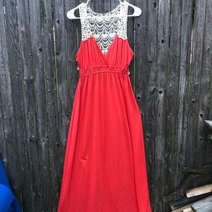 Beautiful coral maxi with lace accent